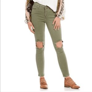 Free People Olive Green Ripped Jeans